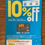 Loft(ロフト)のクレジットカードを持っていると10%引きのハガキが届く